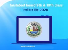 BISE Faisalabad Board Roll No slips Download