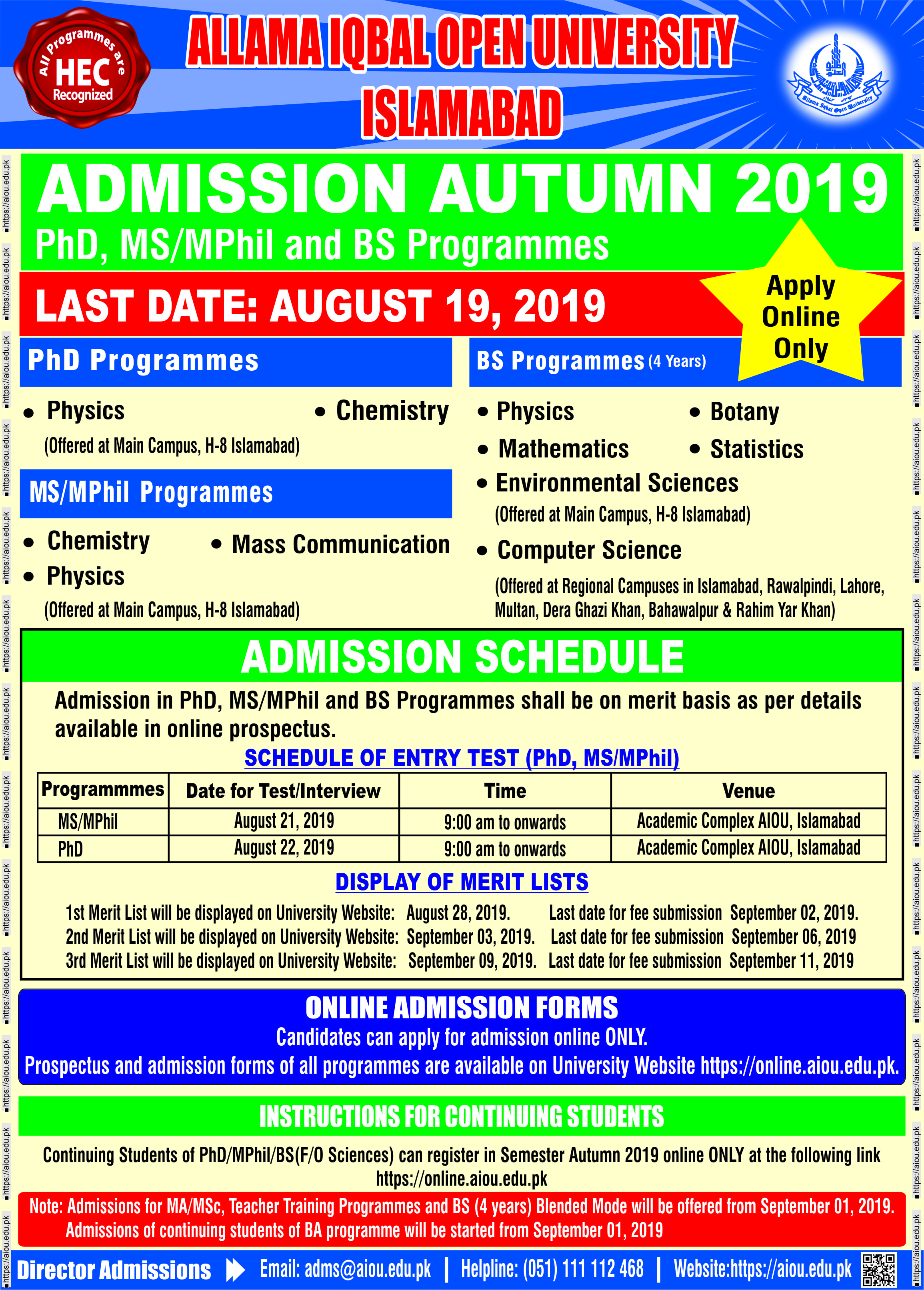 AIOU Admissions 2019, fee structure, merit lists online 2019 and apply online
