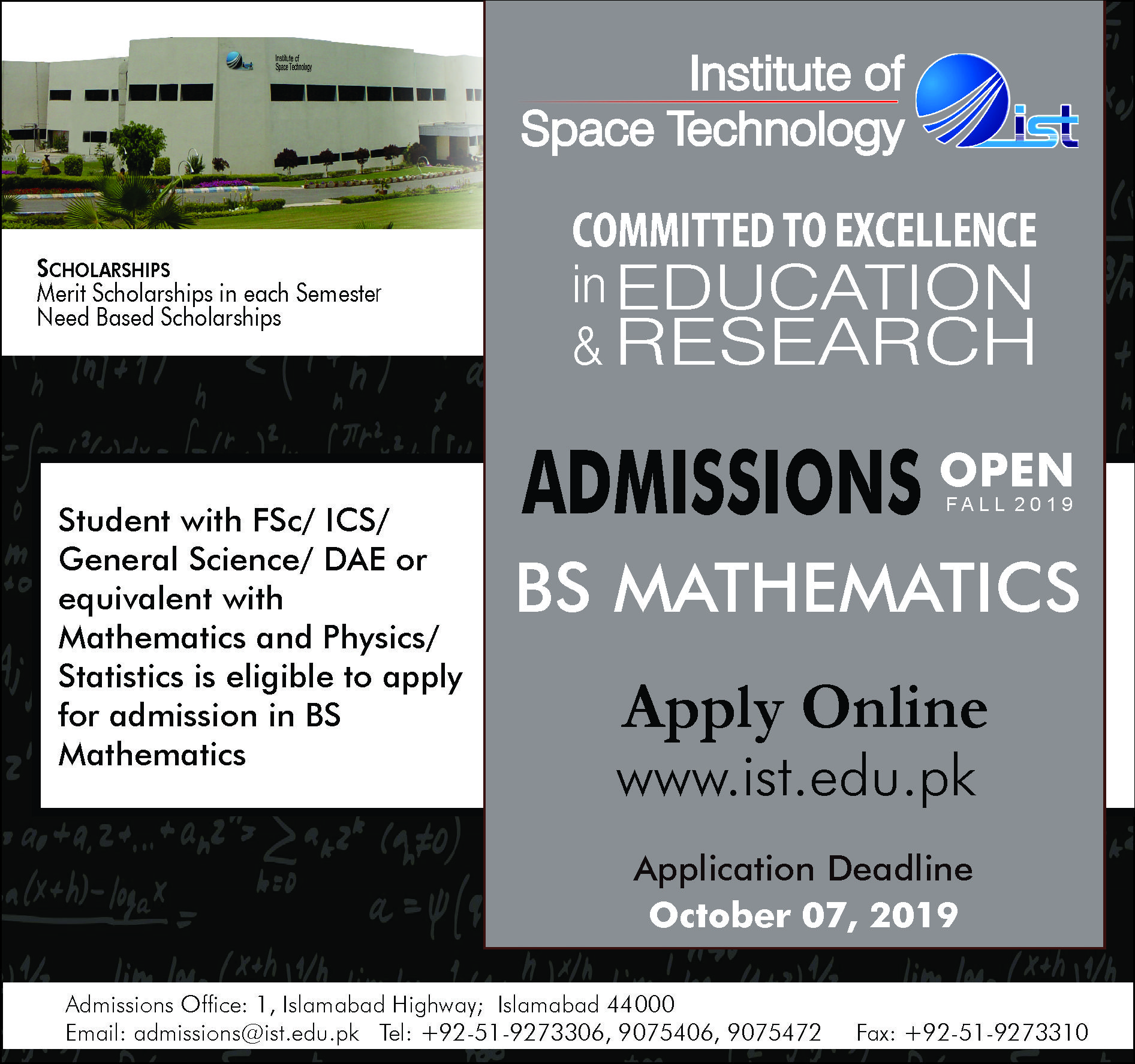 Institute of Space Technology IST Admission Ad