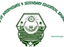 Bise Bahawalpur Board Inter Part 1 11th class Roll No Slips Online
