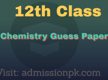 12th class chemistry guess paper